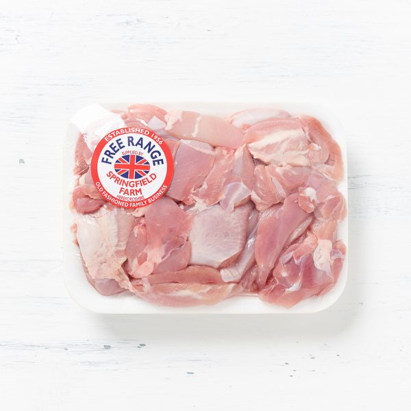 Free Range Diced Chicken Leg in Springfield Poultry tray wrapped packaging