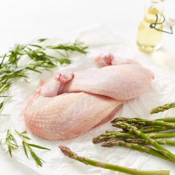Free Range Chicken Breast Supreme with asparagus stems, olive oil and tarragon