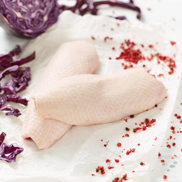 Free Range Duck Breast Fillets with pink peppercorns and whole red cabbage and shredded red cabbage