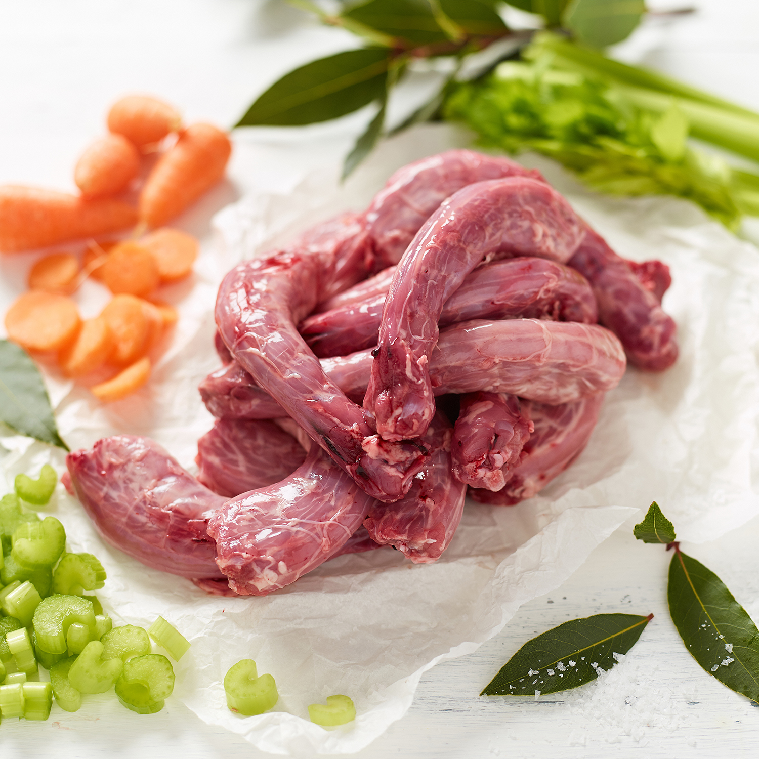 Free Range Chicken Necks with celery, carrots, bay leaves and rock salt